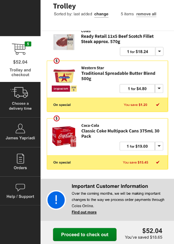 Coles check out pop up showing the amount i've saved