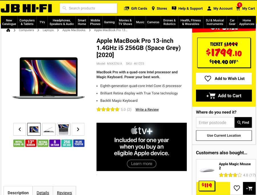 JB hifi website showing mouse product reccomendation