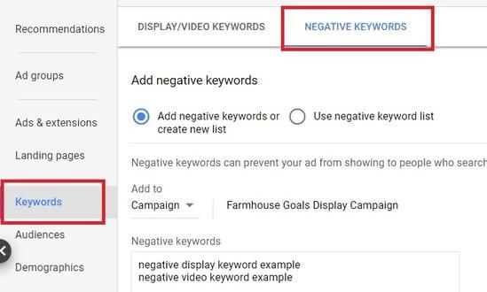 Negative keywords optimisation google ads