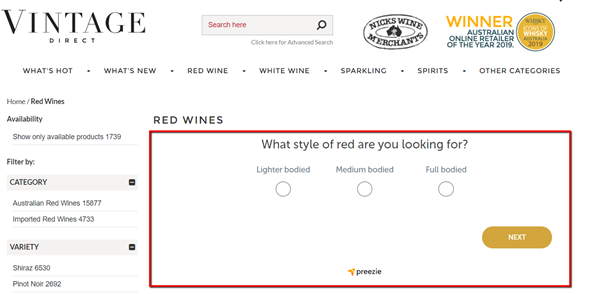 Guided Selling in eCommerce for wines