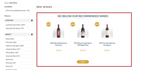 Guided Conversion Preezie Results for Wine eCommerce