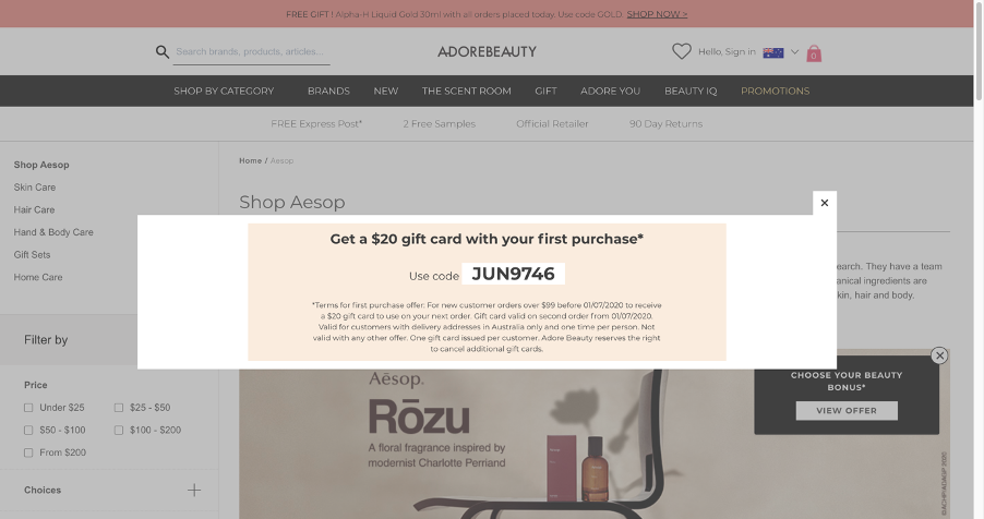 Adore beauty website showing coupon code